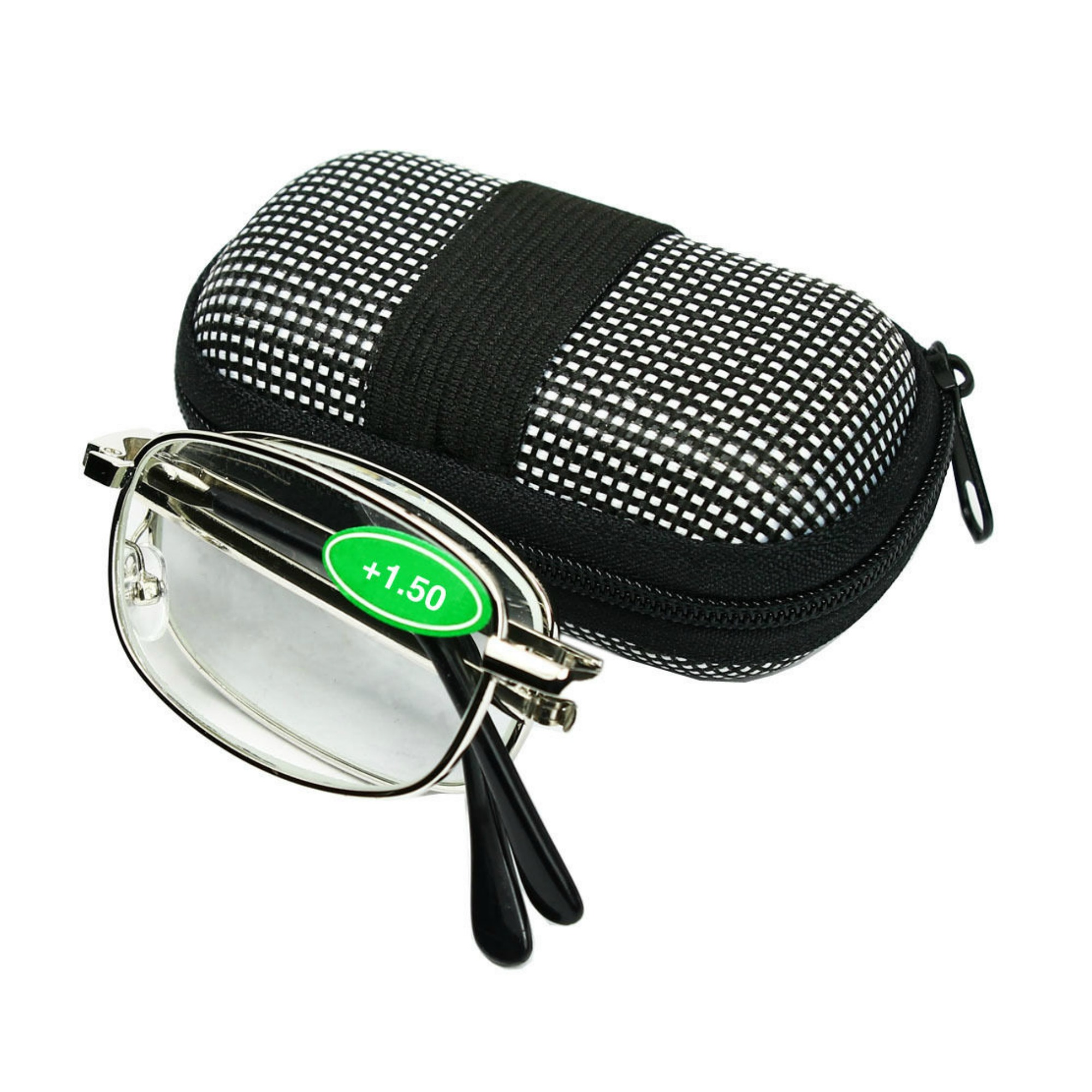 Magg Eyes Two way Foldable Readers in Portable Nylon Zip Cases Classic Silver Folding Reading Glasses for Men or Women (1 piece, 1.25)