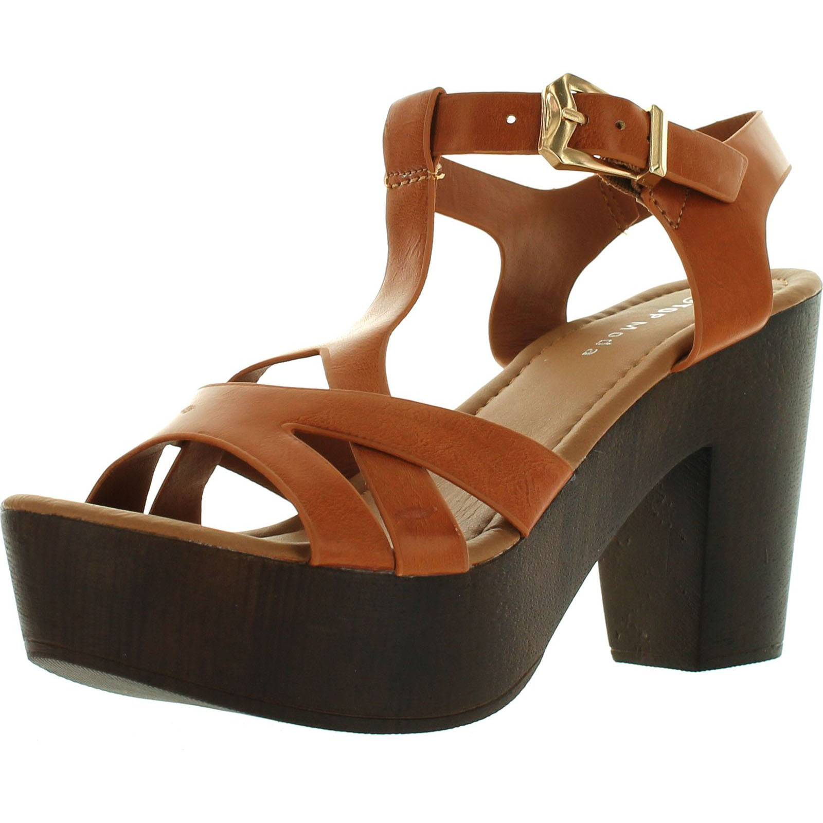 Top Moda Womens Pony-9 T-Strap Faux Wooden Platform Chunky Heel Sandals