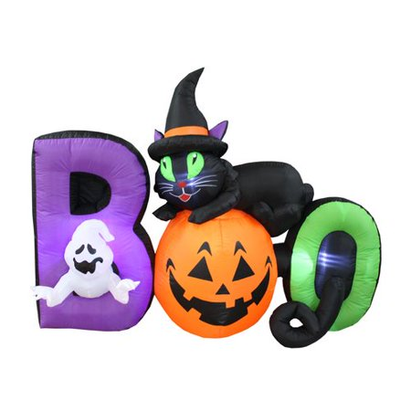 The Holiday Aisle Halloween BOO Scene Inflatable with Cat, Pumpkin and Ghost (Inflatable Cat Halloween Decorations)