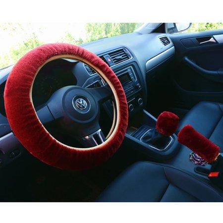 3pcs voiture style volant frein à main changement levier hiver laine feutre doux confortable auto accessoires couverture intérieur cas plush décoration - image 2 de 7