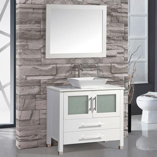 """MTD Vanities Malta 36"""" Single Sink Bathroom Vanity Set, White"""
