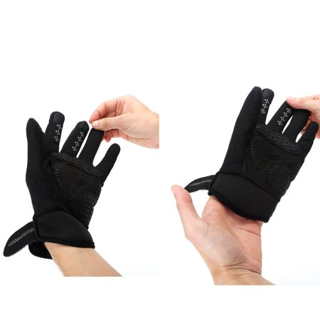WEANAS Bike Bicycle Men Winter Full Finger Cycling Gloves, Windproof Warmth Attractive, for Outdoor, Riding (Black, Large)