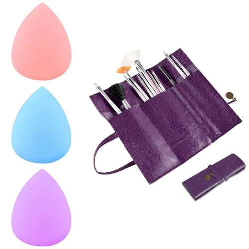 Zodaca Purple Retro Roll Up Leather Makeup Cosmetic Pencil Case Bag+3x Sponge Blender Flawless Droplets