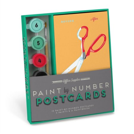 Knock Knock Office Supplies Paint by Number Postcards Kit (Postcards Hobby)
