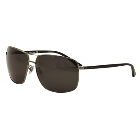 Gucci Men's GG0065SK GG/0065/SK 001 Ruthenium/Black Fashion Sunglasses 66mm