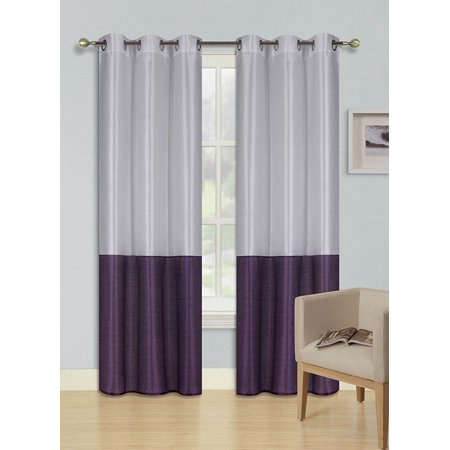 1pc WHITE PURPLE HEIDI Faux Silk Drape Panel Top Chrome Metallic Grommet Window Curtain Treatment Drape 2 Shade 37 wide x 63 length (Metallic Purple)
