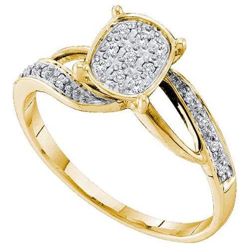 0.10Ct Diamond Fashion Bridal Womens Fixed Ring Size - 7