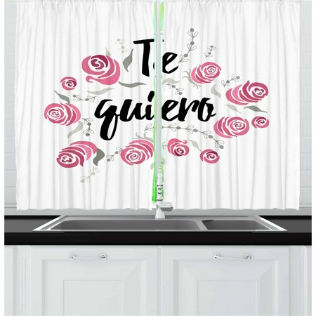 Spanish Curtains 2 Panels Set, Te Quiero Typography with Rose Flower Wreath Romantic Love Valentines Concept, Window Drapes for Living Room Bedroom, 55W X 39L Inches, Pink Black White, by