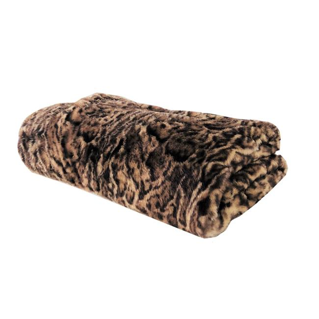 Plutus PBEZ1667-9090-TC 90 x 90 in. Jungle Cat Faux Fur Luxury Throw Blanket, Brown & Beige - image 3 de 3