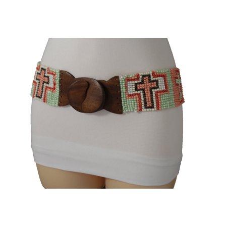 Women Western Fashion Belt Wide Stretch Pastel Cross Bead Brown Wood Buckle M (Bke Cross Buckle Belt)