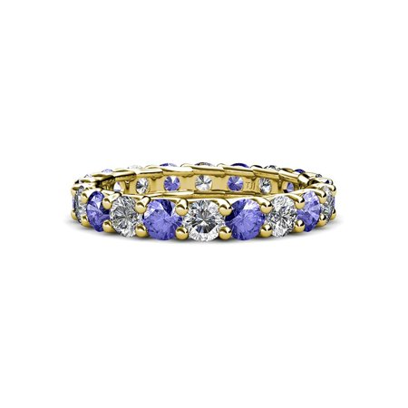 Tanzanite and Diamond 3.4mm Eternity Band 2.55 cttw to 3.15 cttw in 14K Yellow Gold.size 6.25