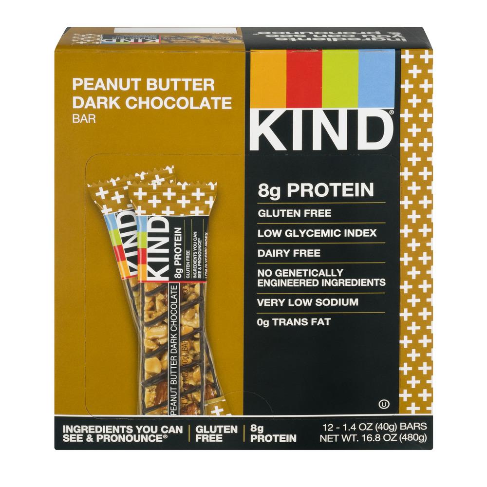 KIND Plus Bars, Peanut Butter Dark Chocolate, 1.4 oz, 12 Count