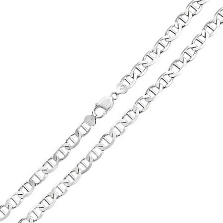 Solid Heavy Flat Mariner Anchor Link Chain 150 Gauge Strong For Men Necklace 925 Sterling Silver Made In Italy 24 Inch