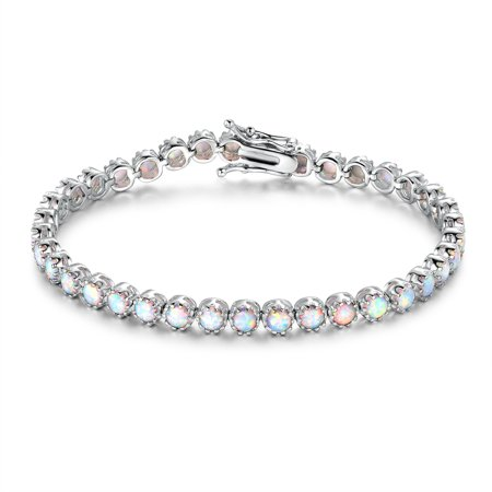 White Rhodium Plated White Fire Opal Crown Tennis Bracelet