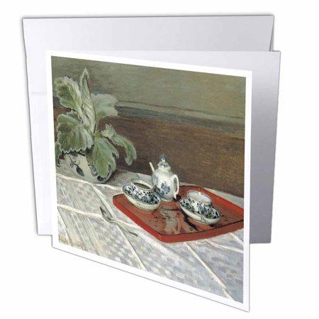 3dRose The Tea Set by Claude Monet, Greeting Cards, 6 x 6 inches, set of 6 (Monet Tea Set)