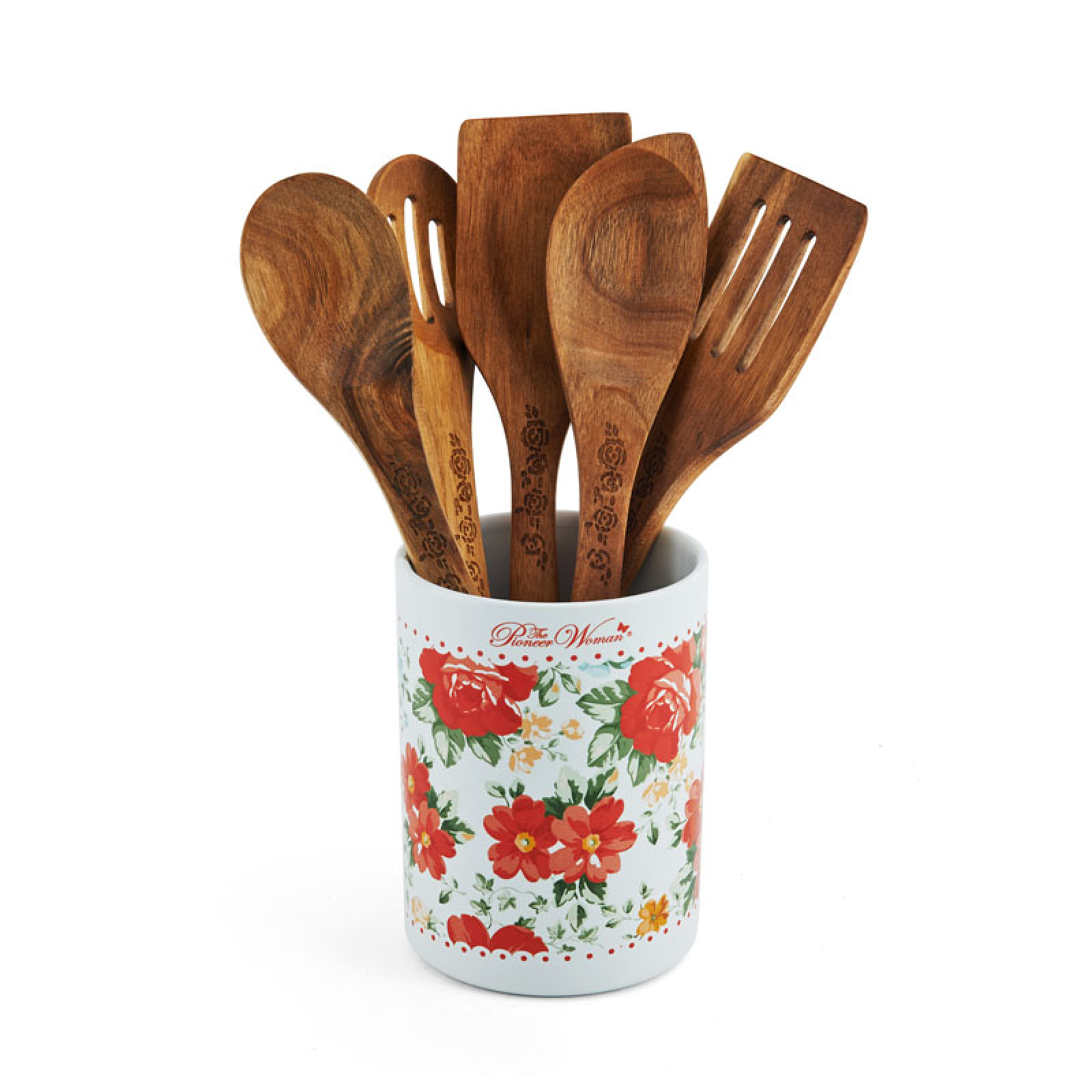 The Pioneer Woman 6 Piece Crock and Wooden Tool Set in Vintage Floral