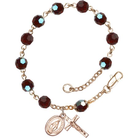 All 14 KT Gold Catholic Rosary Bracelet with 6mm Garnet Swarovski and Austrian Tin Cut Aurora Borealis Beads