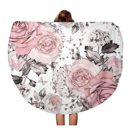 JSDART 60 inch Round Beach Towel Blanket Pink Flowers and Leaves on Watercolor Floral Pattern Rose Travel Circle Circular Towels Mat Tapestry Beach Throw - image 2 de 2