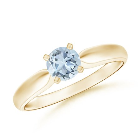 March Birthstone Ring - Solitaire Round Aquamarine Tapered Shank Ring in 14K Yellow Gold (5mm Aquamarine) - SR0245AQ-YG-A-5-13
