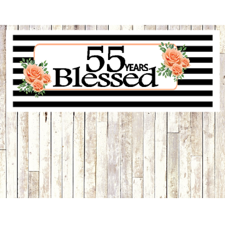 Number 55- 55th Birthday Anniversary Party Blessed Years Wall Decoration Banner 10 x 50inches](55th Birthday)