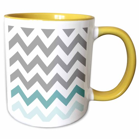 4 Accent Mugs (3dRose Grey chevron with mint turquoise zig zag accent gray zigzag pattern - Two Tone Yellow Mug, 11-ounce)