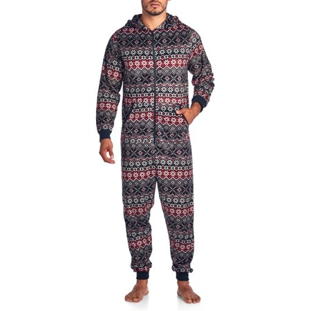 Ashford & Brooks Men's Adult Mink Fleece Hooded One-Piece Union Suit Pajamas](Peace Fleece)