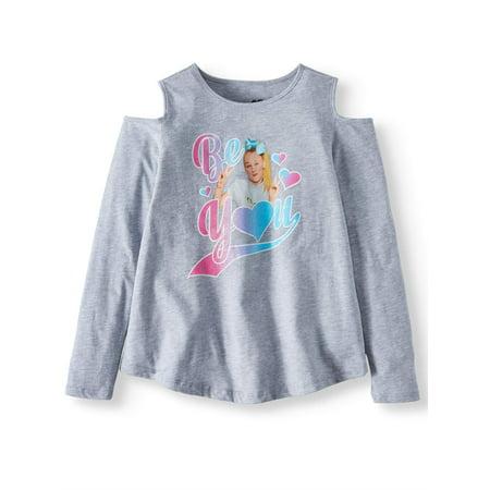 Nickelodeon JoJo Siwa Cold Shoulder Long Sleeve Graphic T-Shirt (Little Girls & Big Girls) Little Kids Teal Apparel