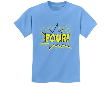 Cheap Costume Ideas Adults (FOUR! Fourth Birthday - 4 Years Old Gift Idea Superhero Youth Kids T-Shirt X-Small California)