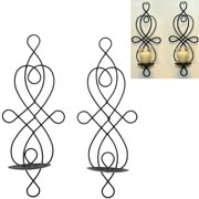 Teammate A Pair of Two Selling European Style Wrought Iron Candle Holder Creative Wall Hanging Candle Holder Black