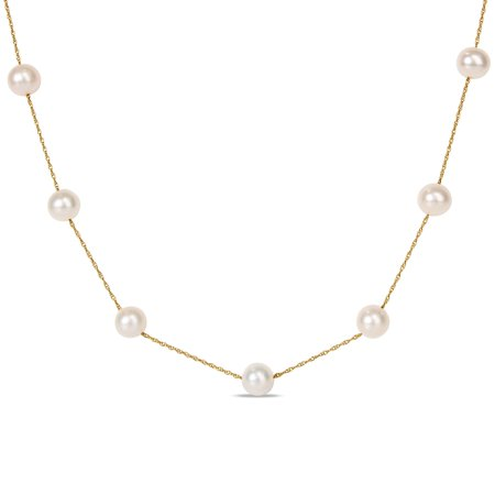 10k Yellow Gold White Freshwater Pearl Tin Cup Necklace (7.5-8 MM)