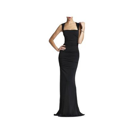 Nicole Miller Womens Open Back Sleeveless Evening Dress Black 0