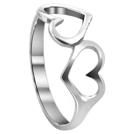 Silver Sparkle Hearts - Gem Avenue 925 Sterling Silver Emotional Twin Open Heart Shape Love Ring