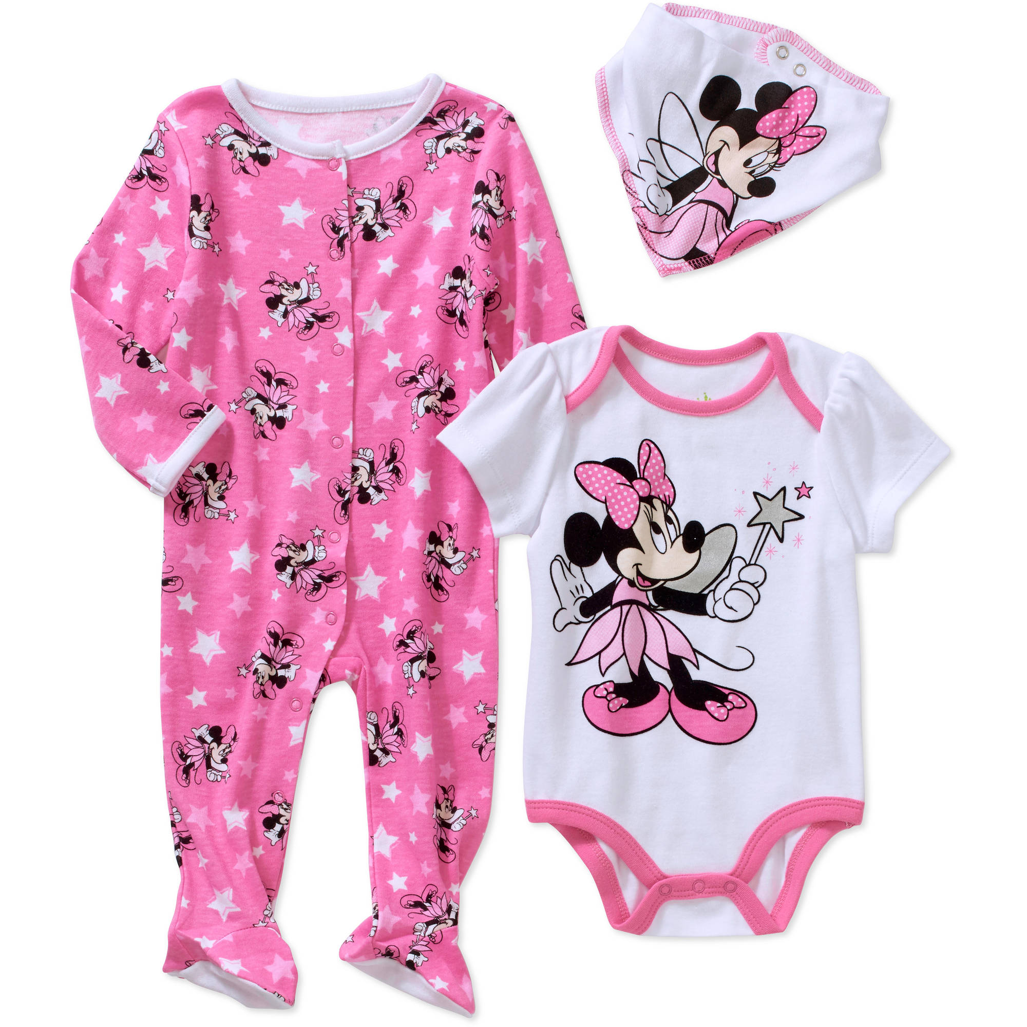 Minnie Mouse Newborn Baby Girl Footed Sleeper, Bodysuit, and Bib, 3-Piece Layette Set