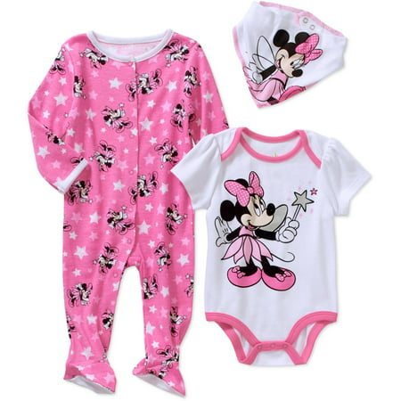 Minnie Mouse Newborn Baby Girl Footed Sleeper Bodysuit