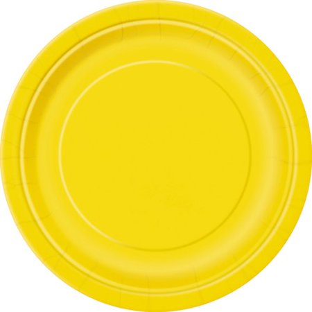 Paper Plates, 7 in, Yellow, 50ct