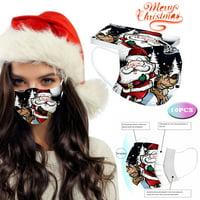Mnycxen Adult Universal Disposable High-quality Christmas Printed Mask 10PC