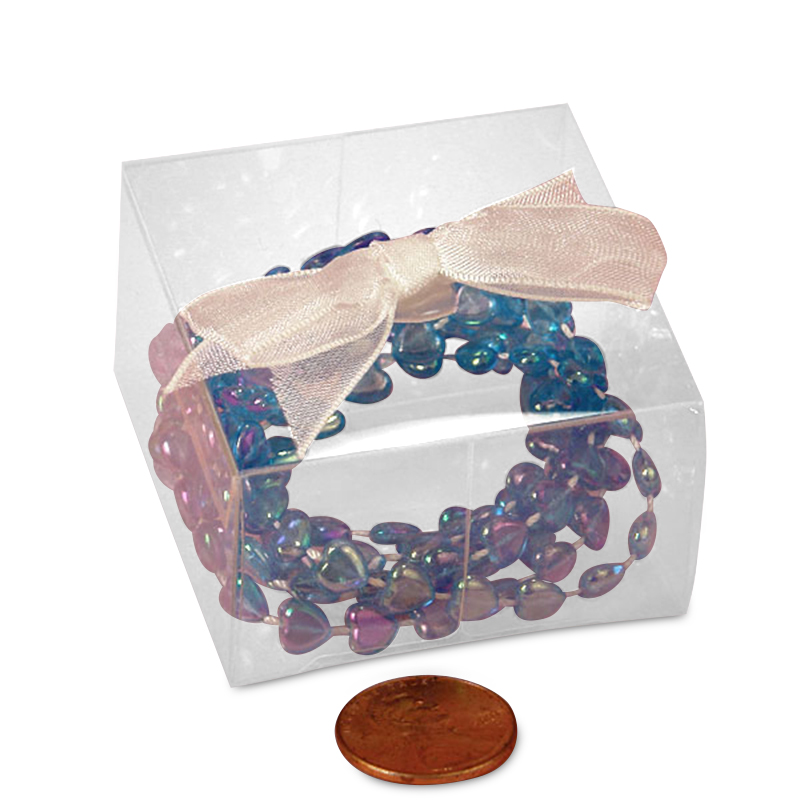 "Clear Favor Box With White Bow | Quantity: 12 | Width: 2"" by Paper Mart"