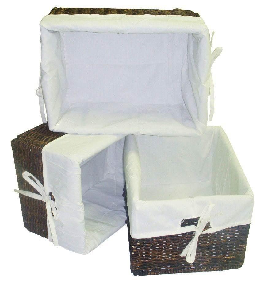 3 Pc Rectangular Storage Baskets w Cream Colored Liner