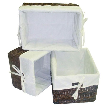 3 Pc Rectangular Storage Baskets w Cream Colored Liner