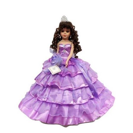 Porcelain Quinceanera Umbrella Doll (Quince Anos) Lavender Ceremony Centerpiece Doll 18""