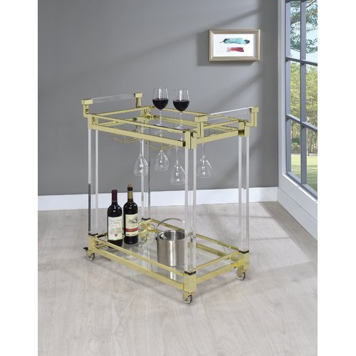 Coaster Serving Cart in Clear w Brass Finish by COA INC