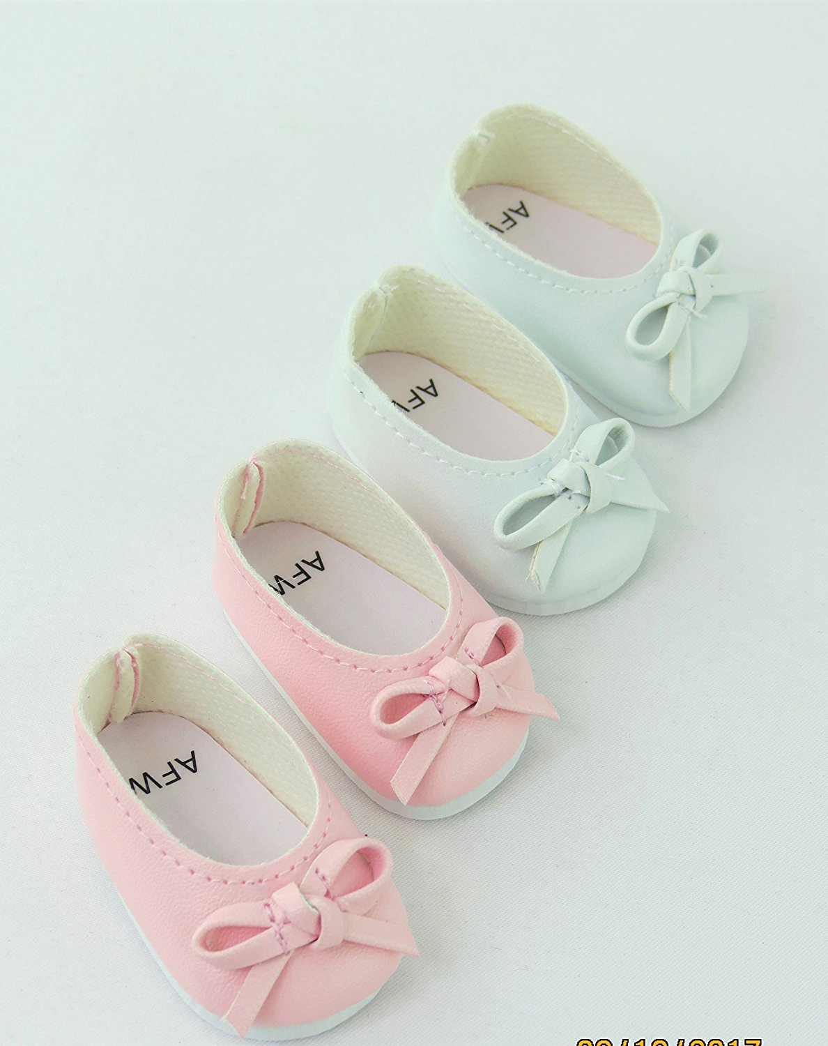 """2 Pack of bow flats: white and pink- Fits 14"""" Wellie Wisher Dolls 