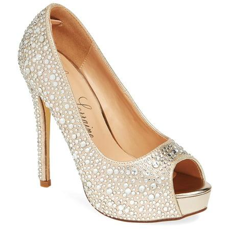 Lauren Lorraine Candy6 Nude Glistening Peep Toe Platform Tapered Heeled Sandals ()