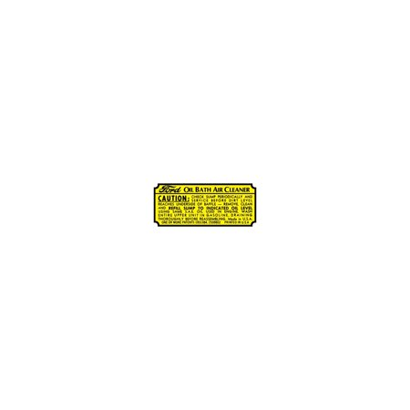 MACs Auto Parts Premier  Products 47-47274 Oil Bath Air Cleaner Decal - Ford Truck