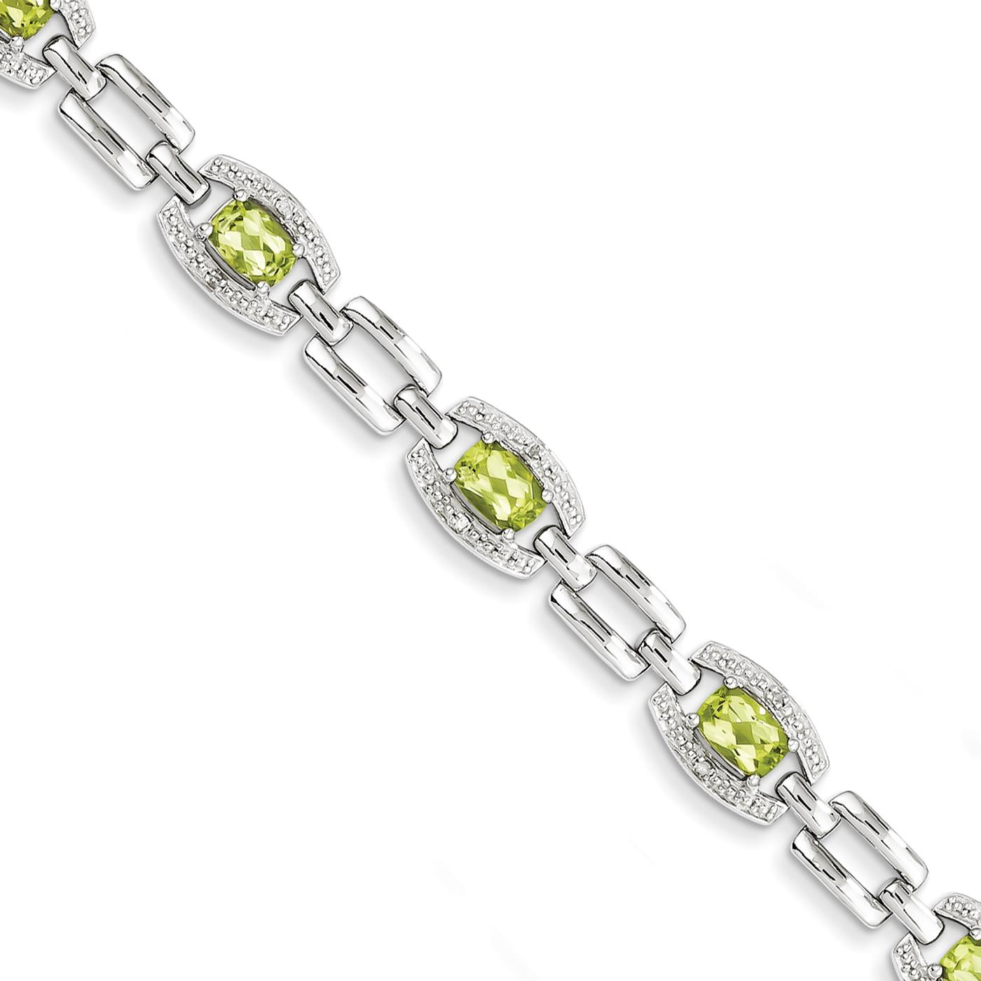 "925 Sterling Silver 8mm Polished Diamond & Peridot Bracelet 7"" by Fusion Collections"