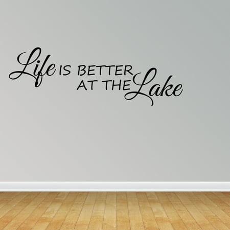 Wall Decal Quote Life Is Better At The Lake Inspirational Wall Stickers JR990 (Lake Lanier Decal)