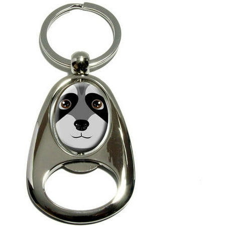 Raccoon, Cute, Chrome Plated Metal Spinning Oval Design Bottle Opener Keychain Key Ring