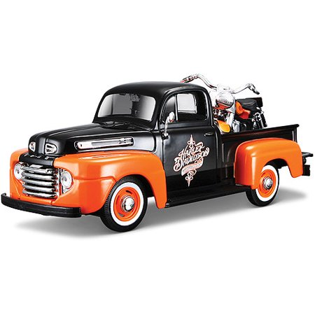 Pickup Trike - Harley Davidson Themed 1:24 1958 FLH Duo Glide + 1:24 1948 Ford F-1 Pickup