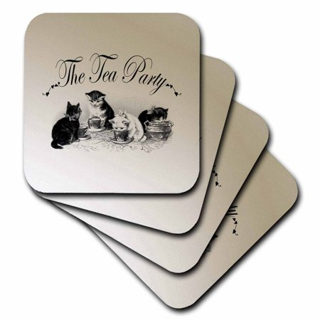 3dRose Tea Party Kittens- Cute Animal Art- Cats, Soft Coasters, set of 4