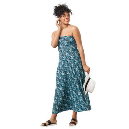 960a0ce6790cf Ellos - Plus Size Strapless Beach Dress Cover Up - Walmart.com